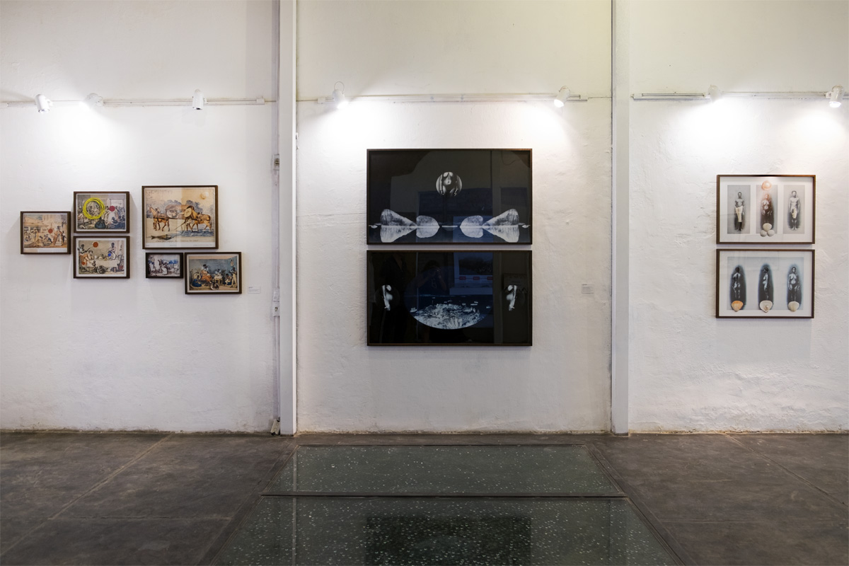 Exhibition view of left wall with Ways of Seeing series (left), Ways of Dwelling (center), and Vênus da Gamboa (right).