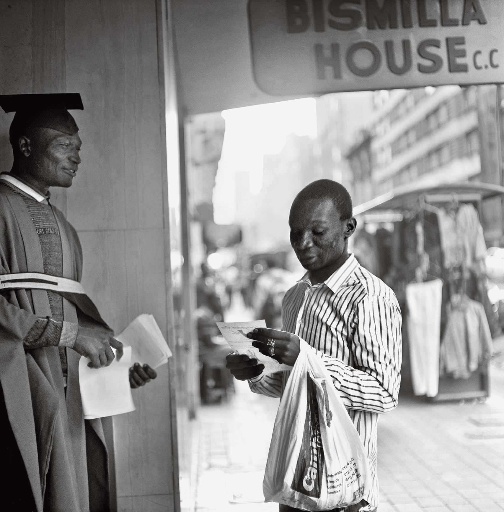 Sabelo Mlangeni, Outside Bismilla House on President Street, 2012, from the series Big City, 2002–ongoing Courtesy the artist